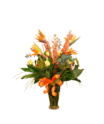 Vase Arrangement Tropical Mix and Rose